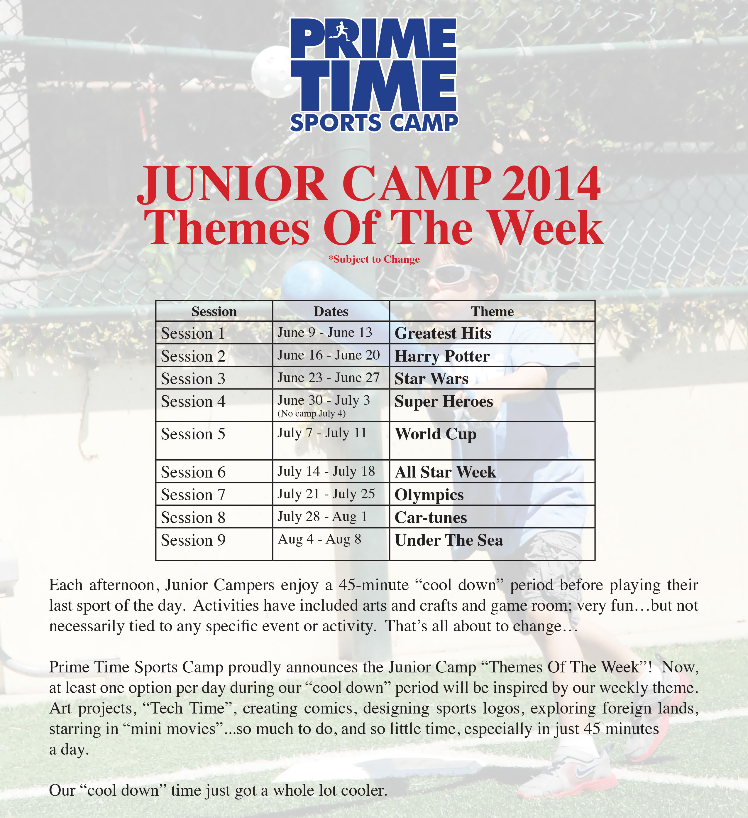Themes of the week - Prime Time Sports Camp
